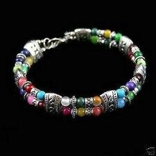 New Tibet silver multicolor jade turquoise bead bracelet