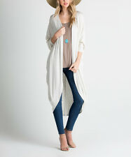 Long Cardigan Size 12 Light Grey Dolman Open Front