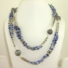 NATURAL BLUE SODALITE GEMSTONE BEADED BEAUTIFUL LONG CHARMING NECKLACE 104 GRAMS
