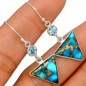 Copper Blue Turquoise - Arizona & Blue Topaz 925 Silver Earrings BE29654