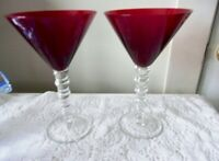 "Barware Margarita 2 Ruby Red Glasses With Clear Ribbed Stems 8"" Tall"