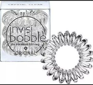 Invisibobble ORIGINAL Hair Ties, Crystal Clear and Traceless, Strong Hold 3 Pack