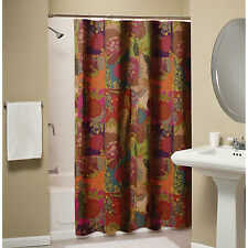 JEWEL RED SHOWER CURTAIN : MOROCCAN BOHO FLORAL EXOTIC PRINT