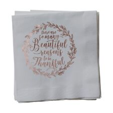 Paper Frenzy Christmas Holiday So Many Reasons to Be Thankful Silver Napkins