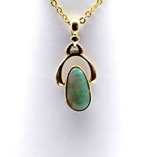 SOLID GOLD JEWELLERY, SOLID 14 CARAT GOLD PENDANT WITH SOLID WHITE OPAL 8705