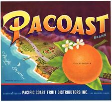 GENUINE PACOAST ORANGE CRATE LABEL PCH PACIFIC COAST HIGHWAY C1950 MODERNISM