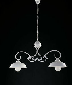 Chandelier BAR Barbell Wrought Iron White Shabby Chic 2 Lights Lgt Dome