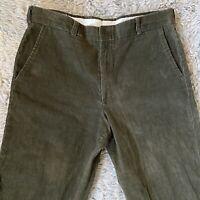 Vintage 60s 34 Short Green Corduroy Pants Thin Wale Talon Zipper Hippie Wide Leg