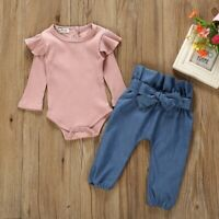 Baby Girls Pink Long Sleeve Ruffle Top Bodysuit 2 Piece Set Outfit 12-24 Months