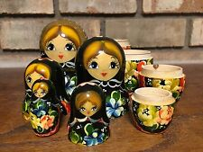 RARE MATRYOSKA BABUSHKA AUTHENTIC 5 PC RUSSIAN NESTING DOLL - ARTIST SIGNED GIRL