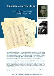 🌓Georges Oudard manuscrit article meeting LÉON BLUM élections législatives 1928