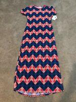 NWT Lularoe Maria XS Red White & Blue Chevron pattern Full length Dress GORGEOUS