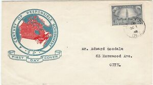 Canada First Day Cover (#277) October 1, 1948 /City / MAP