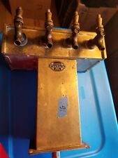 Vintage Perlick Brass 4 Head Beer Tap Tower with Drain