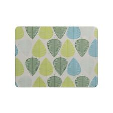 Set of 4 Cork Backed Rectangle Green Leaf Design Placemats Tableware Table Mats