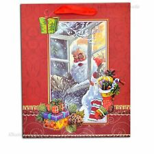 3 x Small Red Luxury Christmas Gift Bags Decorative Paper Bags Party Gifts