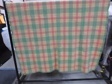 """Vintage Ayers Pure Wool Pink Green Plaid Trapper Blanket 74.5"""" X 87.5"""" Canada"""
