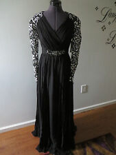 BADGLEY MISCHKA Coll. lace beaded ruched pleats long formal b/w dress NWT $990