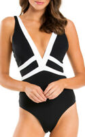 Jets Womens Swimwear Black White Size 6 Contrast Trim Plunge Swimsuit $108 030