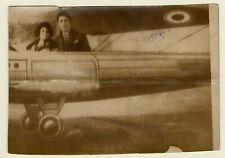 """snapshot photo vintage """"en avion"""" décor peint RPPC"""