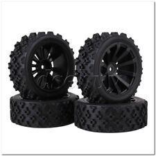 4xRC1:10 On-road Car Flower Pattern Rubber Tyre+10-Spoke Plastic Wheel Rim Black
