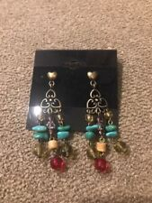 """Toned Earrings $28 (Dc) Premier Designs """"Cody"""" Gold/Blue/Red"""