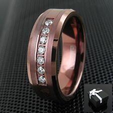 8mm Brown Tungsten Ring 0.14 Carat CZ Brushed & Polished Wedding Band