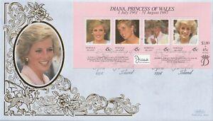NORFOLK ISLAND 1998 PRINCESS DIANA IN MEMORIAM M/SHEET BENHAM LE FIRST DAY COVER