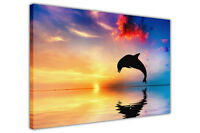 Dolphin Silhouette and Sea Canvas Prints Animal Wall Art Picture Home Decoration