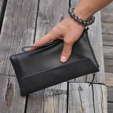 Genuine Leather Men's Black Long Purse Zipper Clutch Bag Multi-function Wristlet
