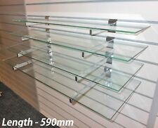 4 Toughened Glass Shelves With Or Without Slatwall Brackets Wall Display New