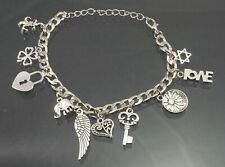 "Silver Plated Fashion Jewelry Charm Bracelet, 9"", Adjustable"