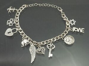 "Silver Plated Fashion Jewelry Charm Bracelet, 9"", Adjustable"