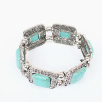 vintage style Turquoise Bracelet Ethnic Stretch Bangle Women Wide Bangle Jewelry