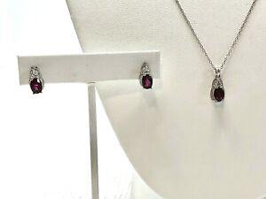 Red Topaz in 925 Sterling Silver Jewelry Set Necklace Pendant Pierced Earrings