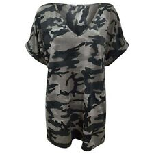 Womens Ladies Army Camouflage Print Batwing Short Sleeve Oversized T Shirt Top