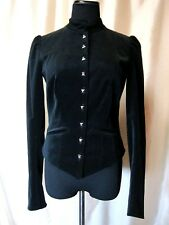 NWT Betsey Johnson 4/S $278 Jet Black Velvet Steampunk Goth Lined Fitted Jacket