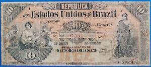Brazil ; 10 mil reis 1892, P-30, G/VG, RARE!, LOW START!