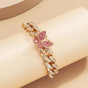 Hot Bling Crystal Women Jewelry Cuban Chain Rhinestone Butterfly Charm Bracelet