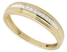 Men's 10K Yellow Gold Princess Real Diamond Wedding Engagement Band Ring 0.50ct