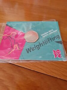2012 London Olympic Games 50p Weightlifting 2011 Coin Sealed in Card BU