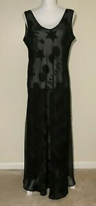 Victoria Secret Long Nightgown, Large, Black Sheer w/ Pattern Sleeveless