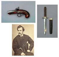 John Wilkes Booth Gun & Knife PHOTO Lot,Dagger+Derringer Killed Lincoln Assassin