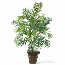 Artificial Silk Palm Plant In Door Fake Tree Wicker Basket Home Office Decor New