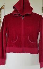 BEBE Red Velour Plush Hoodie Sweatshirt Jacket Size S