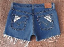 LEVI 501 HIGH WAISTED STUDDED SHORTS SIZE 12 W32