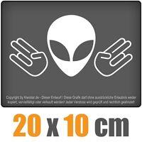 Alien Doppel Shocker 20 x 10 cm JDM Decal Sticker Weiß, Scheibenaufkleber