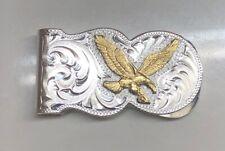 New Montana Silversmiths American Eagle Scalloped Money Clip Silver & Gold Eletr