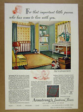 1931 Armstrong Linoleum Floors baby nursery room color art vintage print Ad