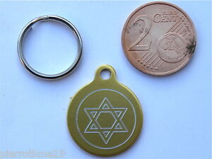 MEDAILLE GRAVEE RONDE OR ETOILE STAR CHATON CHAT collier medalla cane katze